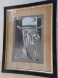 TONY RAFTY (1915-2015)Australian Art Painting Golfer Caricature Portrait Vintage