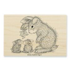 HOUSE MOUSE RUBBER STAMPS HAPPY HOPPERS MISTLETOE BUNNIES NEW WOOD STAMP