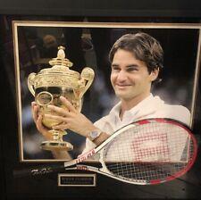Framed Roger Federer Signed Wilson Tennis Racket W/ COA