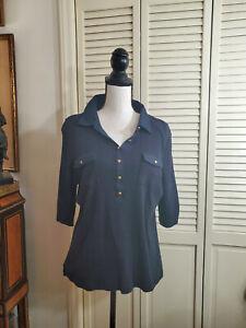 Talbots Navy Blue casual  top Shirt Sz XL 100% cotton