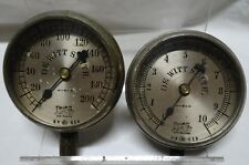 Pair Antique Ashton Valve Co 3 inch Steam/Pressure Gauges Automobile? 1-10 1-200