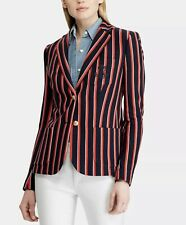 RALPH LAUREN $205 Womens New Navy Striped Double Button  Blazer Jacket Size 20W