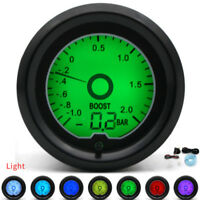 "7 Color 2"" 52mm BAR Turbo Boost Gauge Racing Gauge LCD Digital Display Car Meter"