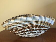 New Ferro Murano Large Glass Shell Bowl - Ivory Tan Copper Brown Made in Italy