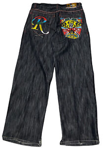 AWESOME Risk Men's Jeans w/Embroidered Back Pockets Street Knowledge 36X34