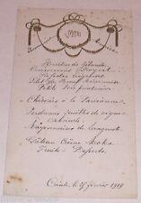 Menu février 1919 de Germaine et Maurice pour le Lieutenant Maurice GIELEN