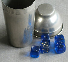 """5 Tiny Glass Dice Cobalt Blue 1/4"""" with Chrome Cocktail Shaker 2.25"""" Germany"""