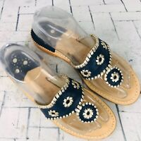 Jack Rogers Navajo Sandals Navy Blue Silver Whipstitched Thong Womens Size 7 EUC