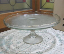 "Vintage Jeanette Glass ""Harp"" Clear Depression Glass Pedestal Cake Stand 10"""
