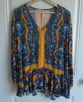 Free People Womens Mustard Blue Floral Long Sleeve Tunic Top Shirt Size Small
