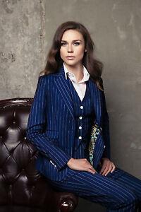 Men Blue Pin Stripes Suits Designer Dinner Party suits (Coat+Waistcoat+Pants)