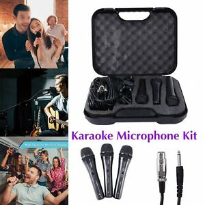 Soundlab 3 Dynamic Vocal Karaoke Microphone Kit with Carry Case + 3 x 2.8m Leads
