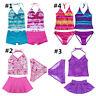 Girl Kids Halter Tankini Swim Bathing Suit Swimwear Swimming Costume Age 1-16Yrs