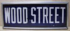 Old Porcelain WOOD STREET Sign name road custom aluminum framed advertising