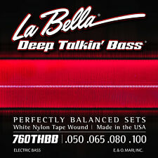LA BELLA 760THBB WHITE NYLON TAPEWOUND STRINGS FOR HOFNER BEATLE BASS - 50-100