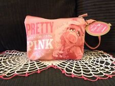 NWT HALLMARK MUPPETS MISS PIGGY COSMETIC BAG PRETTY IN PINK WRISTLET