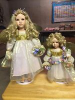 pair of SEYMOUR MANN PORCELAIN DOLL mother daughter angels