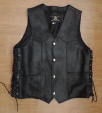 Vintage ASHY Black Leather Cowhide Biker Jacket Side Ties Poppers L Large H4-A13