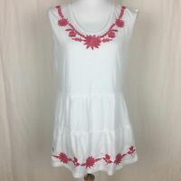 Garnet Hill Women's tiered white sleeveless top floral embroidered Size Medium
