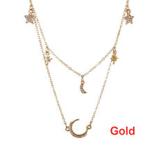 Statement Multilayer Chain Moon/Star Pendant Choker Necklace Bohemian Jewelry