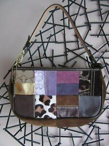 EUC COACH Holiday Patchwork Baguette Wristlet Purse Hang Tag Purple Brown #7071