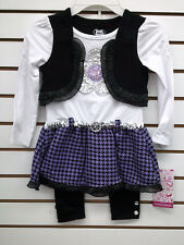 Girls Young Hearts 2pc Purple, White, & Black Set Size 4 - 6X