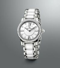 DAVID YURMAN WOMAN'S STAINLESS STEEL & WHITE CERAMIC DIAMOND WATCH 30 mm NEW BOX