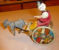 Antique LEHMANN BALKY MULE DONKEY CLOWN WIND UP TOY  Tin GERMANY