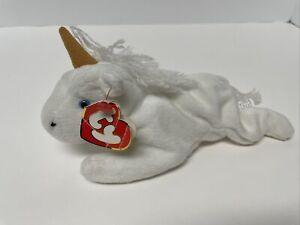 """ty Beanie Babies """"Mystic"""" the Unicorn 3rd Gen/1st Gen Tags-Fine Mane Tan Horn"""