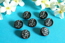 """1212B/Lovely Small Buttons """" Pearl Black """" Glass Lot 7 Buttons Ép. 1950"""