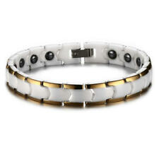 Men Women White Ceramic Wedding Bracelet Gold Plating Magnetic Energy Bangle 7""