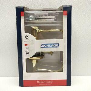SCHLAGE F51 V FLA 505 Keyed Entry Flair Lever Bright Brass Keys & Hardware