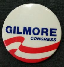 Pinback Pin Political Gilmore Congress Red and White Stripes with Blue Lettering