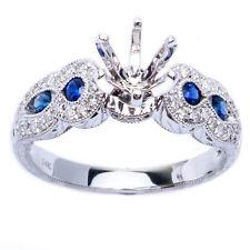 .57ct Genuine Blue Sapphire & Diamond Engagement Semi Mount Wedding Ring