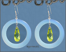 Opalite Dangle Donut Earrings 35mm w/CZ Peridot #65190