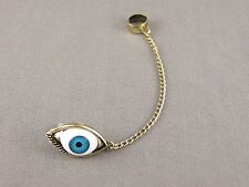 "antiqued Gold tone Evil Eye dangle post stud earring ear Cuff 3"" long chain"