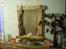 Rustic reclaimed solid  wooden driftwood mirror coastal beach nautical style