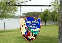 OLD STYLE RAND McNALLY GARAGE ARROWHEAD GAS TRAVEL STEEL 2 SIDE SIGN MADE IN USA