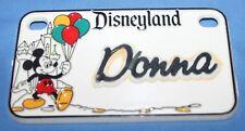 Vintage Disneyland Mickey W/ Balloons Donna Name Plastic License Plate