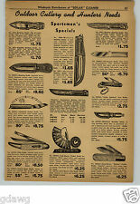 1948 PAPER AD Western Kinfolks Hunting Knife Automatic Press Button Pocket