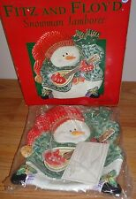 "Fitz and Floyd Snowman Jamboree Christmas Plate 9"" Platter w/Box"