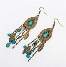Bead Feather Long Dangle Drop Earrings Cute Fun New Sw Style Turquoise Stone
