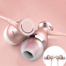 3.5mm Earphone Earbud Handsfree Headphone Magnetic Waterproof W/ Mic Rose Gold
