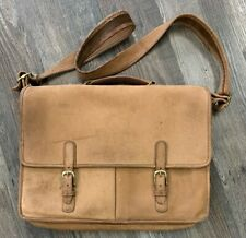 Coach Vintage Tan Worn Leather Brass Briefcase Laptop Portfolio Messenger Bag