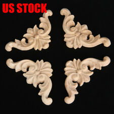 20Pcs Wood Carved Corner Applique Unpainted Frame Decal For Home Furniture Decor