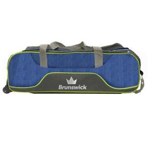 Brunswick Crown Deluxe Navy/Lime Slim Triple 3 Ball Tote Bowling Bag