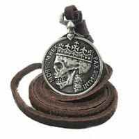 Herren Charme Silber Schädel Anhänger echten Legierung Leder Halskette Sell Q5X2