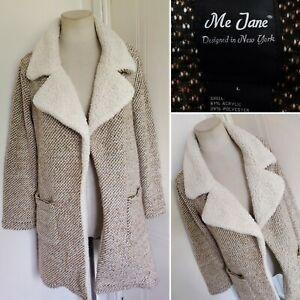 ME JANE Beige Boucle Teddy Faux Fur Collar Open Front Cardigan Jacket Coatigan L