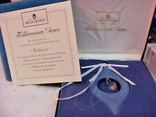 """Wedgwood Millennium Gems 1997 Blue w/Crystal """"Reflection"""" Ornament w/Box England"""