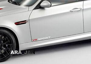 V6 SPORT Vinyl Decal racing speed car emblem logo skirt door sticker WHITE/RED